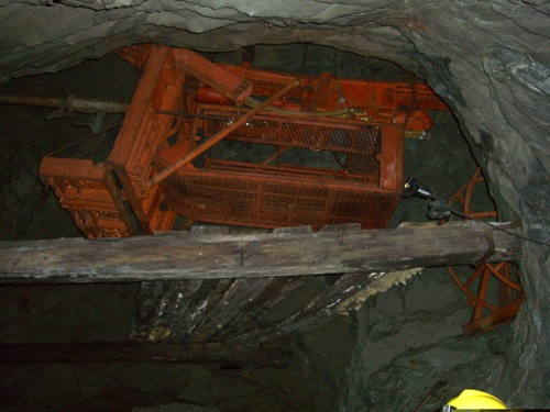 drilling cage; miner's liked these because they were safe and cut down on their labour