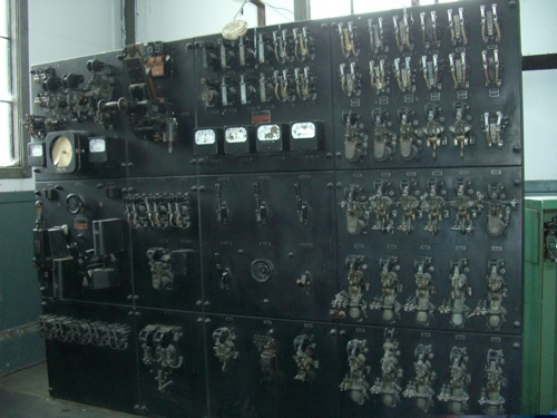 electrical panel controlling the elevator cage