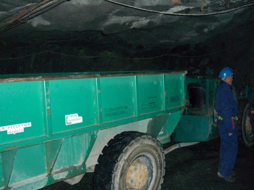 the shuttle we took down into the mine