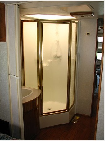 the shower, with space beside it