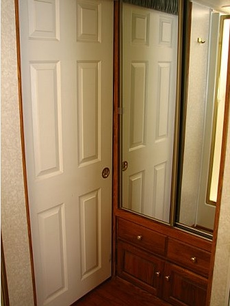 A solid wood pocket door