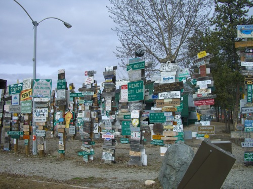 A tiny sample of the more than 65,000 signs in Sign Post Forest