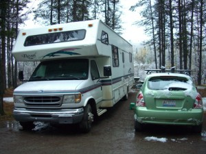 Miranda and Pommette tucked into site number 4 at the Tanzilla River Lions Club campground