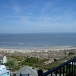 view of Tybee beach from the top of the lighthouse