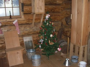 I was amused that the museum dressed up the pioneer cabin for the holidays