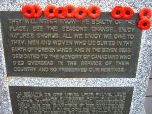 war memorial at the South Beach trailhead