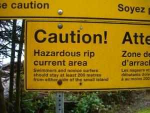 danger warning at Long Beach