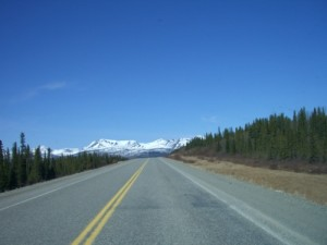 heading west, before Teslin
