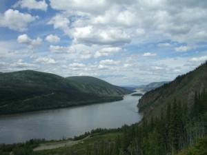 looking down the Yukon River towards Alaska