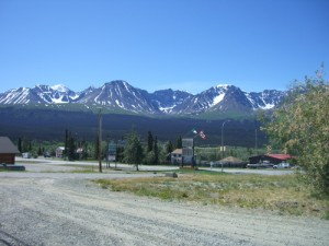 downtown Haines Junction set against the Ice Fields