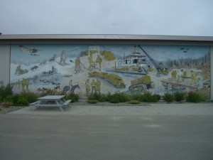 mural showing the different themes of the Yukon--native history, gold minining, the building of the Alaska Highway
