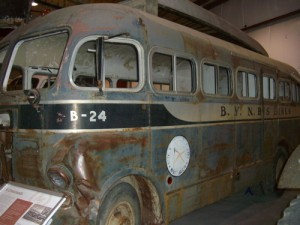 the first public buses to travel the Alaska Highway started around 1948 and looked like this