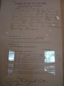 document proving that London staked a gold claim in the Klondike