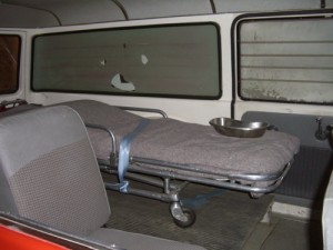 inside of an old ambulance