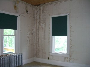 water damage in an upstairs room
