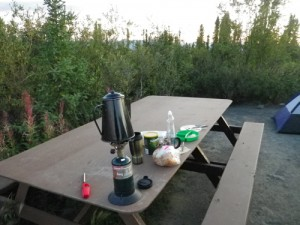 breakfast at Eagle Plains (that little stove and I have done some serious traveling together!)