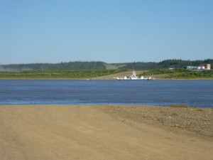 waiting on the Mackenzie River ferry