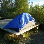 I was worried about rain, so I tarped the tent. Love those tent platforms; they make it so much easier to get out of bed!
