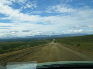 after Eagle Plains, the gravel highway became a muddy rut for about a 100km.