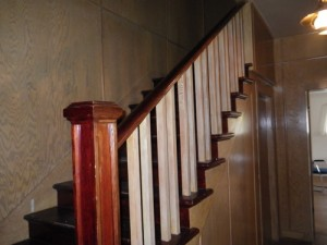 the staircase inside the welcome building is in surprisingly good shape