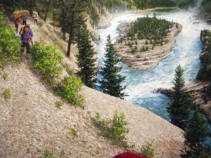 painting of Thompson portaging in the Kootenays
