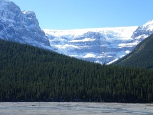 approaching Columbia Ice Fields