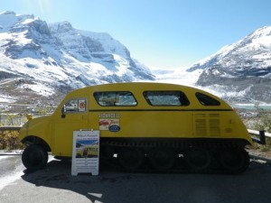 old Bombardier snow machine that took tourists up the glacier