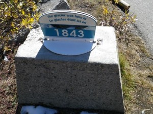 this plaque reads that the edge of the glacier was right there in 1843. I'm guesstimating, but it looked to me like the glacier receded at least 1km since then