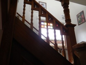 staircase and stained glass