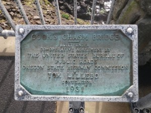 Cook's Chasm bridge plaque