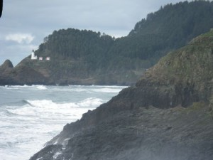 looking towards Heceta Lighthouse at Sea Lion Caves