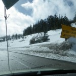 approaching Lookout Pass, exit 0, and the Montana border: MAX truck speed recommended 25MPH