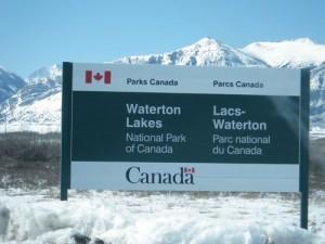 entering Waterton Lakes national park