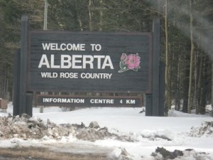I finally got a picture of the welcome to Alberta sign!