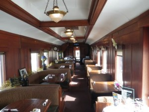 inside of the dining car, which was PM Diefenbaker's 'western car'!