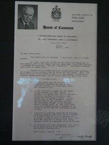letter from Diefenbaker (about a week after my birth!) about the state of the Canadian economy and how disgraceful Parliament was (nothing changes in this country!)