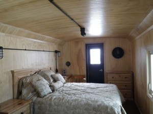 inside of the cozy caboose cabin