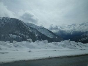snow at the summit of the Salmo Creston pass