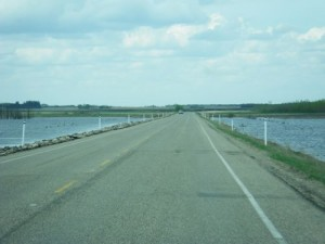 driving over a causeway; there wasn't always water on both sides