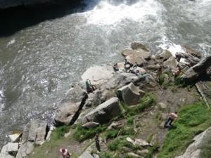 bathers at Lundbreck Falls