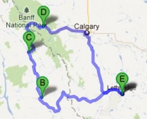 Kootenay circuit--Lethbridge to Cranbrook to Radium Hot Springs to Banff to Calgary to Lethbridge