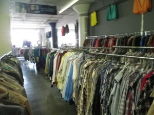 racks and racks and racks of vintage clothing; I didn't see anything over $25!
