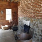 inside the laundry/kitchen building; house slaves slept upstairs