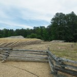 the Battlefield Center was built to look like the pointy wooden structures (not the fence in the foreground) called 'abatis', the Civil War equivalent of barbed wire