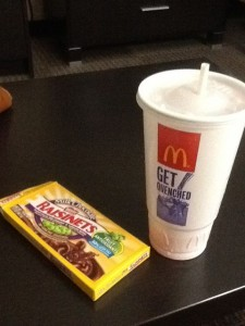 I gave a lady toilet paper at a rest area and she felt obligated to reciprocate with a box of Raisinets. Raisins and chocolate, I could not refuse. As for the drink, McDonald's sizes are ridiculous! But all the sizes were $1 and I wanted a big cold drink. So half the cup is ice, two thirds of the rest is water, and there's a shot of juice. :)