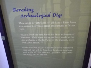 another sign about hardware, saying that most was brought in from Great Britain, but a lot was forged on site