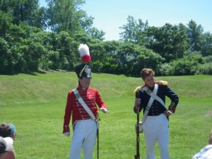 at the fire arm demonstration; the man in blue played the part of the powder magazine man