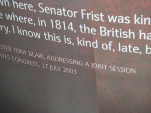 Tony Blair apologizes for the British/Canada burning down the Library of Congress during the War of 1812.