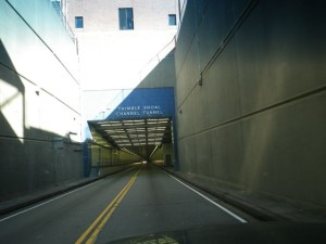 Eastbound entrance of the Thimble Shoal Tunnel