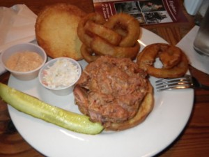 Nice (but expensive!) pulled pork sandwich with onion rings (worth the $1.50 extra!)